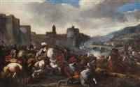 scène de cavalerie près d'une ville fortifiée by pandolfo reschi