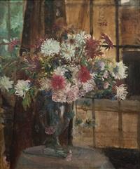 rangkaian bunga dalam piala (floral still life) by s. sudjojono
