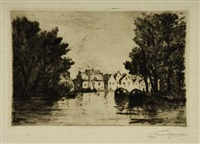 coastal village (+ 3 others; 4 works, various sizes) by carel nicolaas storm van 's-gravensande