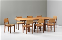 extendable h leg dining table and eight dining chairs, model no. 615 by alvar aalto and aino aalto