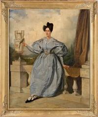 portrait de femme au perroquet près d'une urne by augustin-luc demoussy