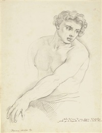a study of a man, half-length with his left arm outstretched by francesco sabatelli