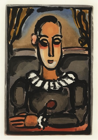 pierrot noir from cirque by georges rouault