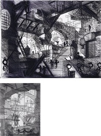 carcere xiii, the well from carceres (after piranesi) (+ carcere iv, the grand piazza (after piranesi); 2 works) by vik muniz