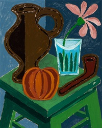 still life with pipe, jug, pumpkin and flower on a table by geni (eugen) peter
