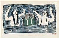 seamaids with walrus #7 by pitseolak ashoona