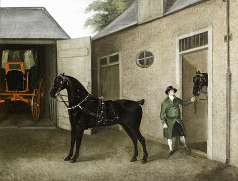 a groom with a pair of carriage horses by john nost sartorius