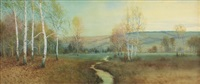 panoramic pastoral meadow autumnal landscape with stream by george howell gay