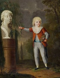 portrait of a boy pointing at a bust by johann heinrich tischbein the younger