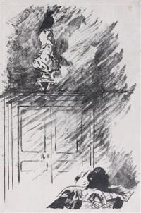 le corbeau sur le buste (from le corbeau by edgar allan poë) by édouard manet