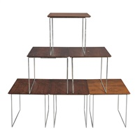 set of six cube nesting tables by poul norreklit