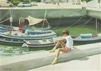 harbour with young boy by henry robertson craig