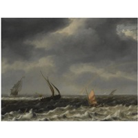 a seascape with dutch shipping vessels in choppy seas and a rainbow in the distance by arnoldus van anthonissen