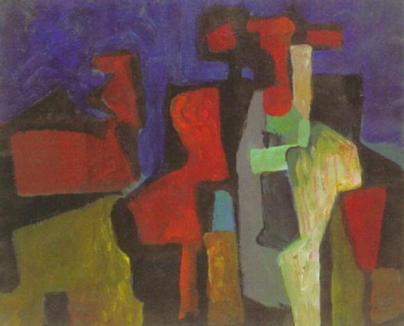 abstrakte komposition mit figuren by carl heinz krug