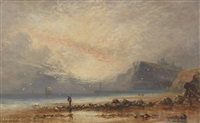 pêcheur sur la grêve et coucher de soleil by richard weatherill