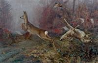chevreuils passant la ligne by edouard paul merite