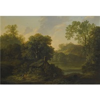 a wooded landscape with a cottage and figures by a path by george smith