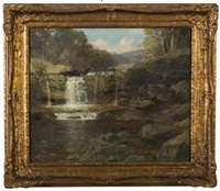 catskill mountain stream with waterfall by bayard henry tyler