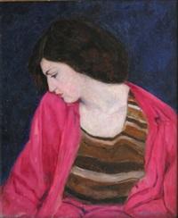 portrait de femme au fond bleu by serge yourievitch