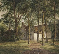 a farmhouse under the trees by andreas schelfhout