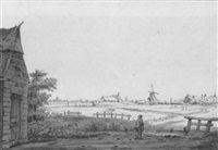 a village seen across fields, with a standing man in the foreground by jan hulswit