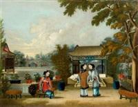 trois jeunes femmes dans un jardin près d'un pavillon by chinese school-canton (19)