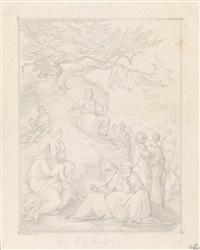 drei zeichnungen mit biblischen szenen: die vertreibung von adam und eva aus dem paradies; die taufe christi im jordan; die predigt des hl. johannes (3 works) by carl gottlieb merkel