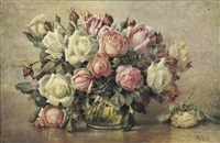 still life with pink and white roses by flora heilmann