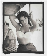 elizabeth taylor with bustier no. 1, on set of giant by frank worth