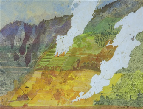 study, fires on a hillside, java by leonard rosoman