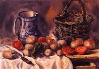 bodegón con verduras, cesto de mimbre y jarra de cerámica by vicente pastor calpena