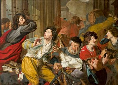 christus vertreibt die händler aus dem tempel by theodoor rombouts