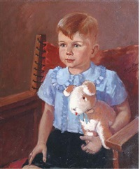 portrait of a boy with cuddle toy by harry maas