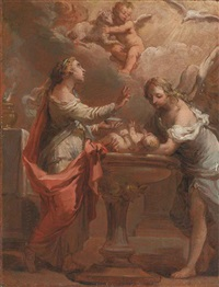 an allegory of the sacrament of baptism - a bozzetto by gaetano gandolfi