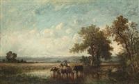 troupeau et vacher à l'étang by leon victor dupré