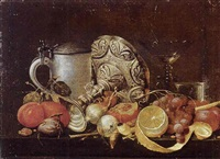 still life with a pipe and tumbler by guilliam van deynum