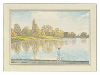 contemplation, a lake scene by gilbert smart