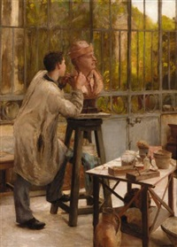 the sculptor's studio by édouard joseph dantan