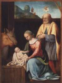 the holy family with the annunciation to the shepherds beyond by giovan battista benvenuti