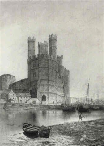 caernarvon castle and harbour by j c sammons
