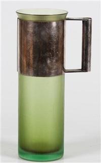 brocca in vetro inciso e manico in metallo argentato by massimo vignelli and paolo venini