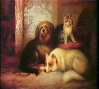 stubeninterieur mit hunden undkatzen by george hepper
