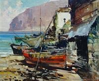 mediterranean port scene by simonetti