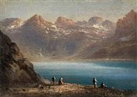 paesaggio montano con lago by l. ritschard