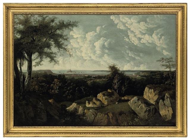 panorama of st helier with elizabeth castle beyond jersey by legenvre