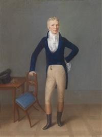 bildnis eines blonden herrn in ganzer figur in reitkostüm, auf eine sessellehne gestützt by johann lorenz kreul