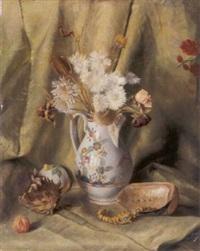 stilleben mit getrockneten blumen in porzellankanne by hermann ritschl