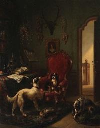 intérieur bourgeois animé de trois chiens près d'un fauteuil de grand-père by wouter verschuur the elder