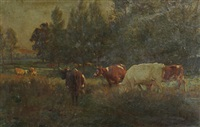 cattle grazing in a meadow by william frank calderon