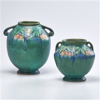 green baneda two-handled bulbous vases (2 works) by roseville